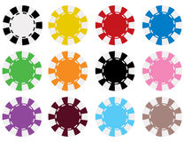 O póquer do vetor lasca dentro 12 cores Ilustração Stock