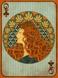 O pôquer da rainha bate o cartão no estilo do art nouveau ilustração do vetor