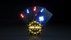 O pôquer de jogo do casino carda o conceito grande da vitória com as luzes de néon de incandescência isoladas no fundo preto - il ilustração royalty free