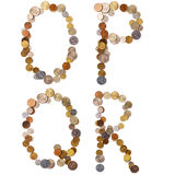 O-P-Q-R alphabet letters from the coins Stock Photos