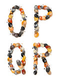 O, P, Q, R. Letters of pebbles. The letters O, P, Q, R, composed of colored sea pebbles. EPS 10 Royalty Free Stock Photography