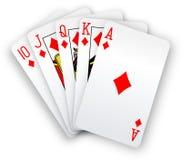 O pôquer carda a mão dos diamantes do resplendor reto Foto de Stock
