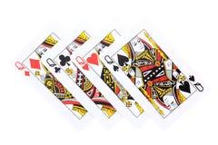 O pôquer carda o Queens Fotografia de Stock Royalty Free