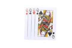 O pôquer carda o Queens Fotos de Stock Royalty Free