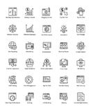 O pacote de Web e Seo alinham ícones do vetor Fotos de Stock Royalty Free