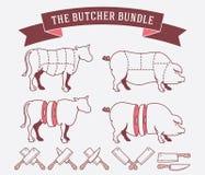 O pacote do carniceiro colorido Imagens de Stock