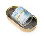 O pacote dos rublos russian pode dentro Fotografia de Stock Royalty Free