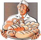 O padeiro guarda o pão recentemente cozido ilustração do vetor