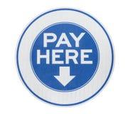 O pagamento aqui assina fotografia de stock royalty free
