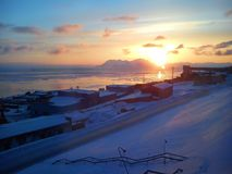 O pagamento do russo de Barentsburg O arquipélago de Spitsbergen noruega Foto de Stock