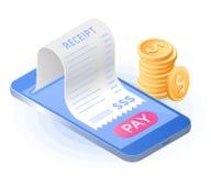 O pagamento em linha da conta com smartphone Vetor liso i isométrico fotos de stock