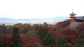 O pagode bonito de Otowa-san Kiyomizu-dera com arquitetura da cidade aérea de Kyoto na cor da queda filme