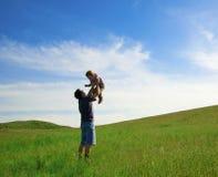 O pai com uma filha imagens de stock