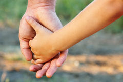 O pai da família e o filho da criança entregam a natureza exterior Imagem de Stock