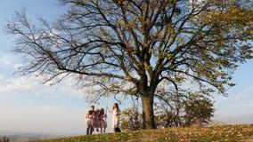 O pai e a mãe agitam suas filhas em um balanço sob uma árvore video estoque
