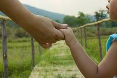 O pai guarda a mão de um fundo do verde da criança pequena, foco macio foto de stock