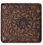 O painel de madeira cinzelado decorativo isolou-se Imagem de Stock Royalty Free