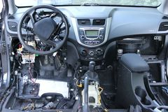 O painel do carro, o close-up do velocímetro imagem de stock