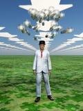 O pairo dos bulbos da ideia acima equipa a cabeça Imagem de Stock Royalty Free
