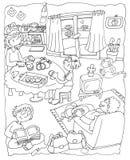O paizinho da mamã da cozinha olha a tevê, lê a coloração do lombo do irmão para crianças Imagem de Stock Royalty Free