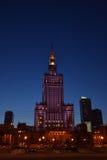 O palácio da cultura e da ciência em Varsóvia Fotos de Stock Royalty Free