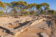 O palácio de Phaistos arruina a ilha da Creta Grécia Imagens de Stock Royalty Free