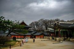 O palácio e os céus do inverno fotografia de stock