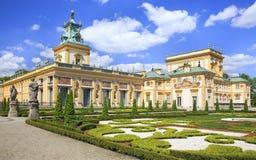 O palácio no distrito de Wilanow em Varsóvia, Polônia Fotos de Stock Royalty Free