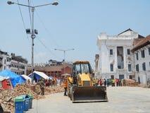 O palácio real danificou pelo terremoto no quadrado de Durbar, Kathmandu Imagem de Stock Royalty Free