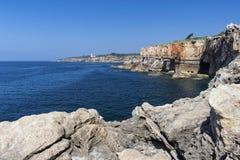 O panorama de Boca faz o inferno, Cascais, Portugal fotos de stock