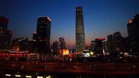 O panorama de Guomao CBD na noite no Pequim video estoque