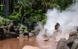 O panorama de Hot Springs geotérmica famoso, chamou Jigoku Meguri, engl excursão do inferno, em Beppu, prefeitura de Oita, Jap imagens de stock