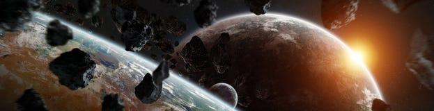 O panorama do sistema distante do planeta no espaço 3D que rende elementos desta imagem forneceu pela NASA ilustração stock