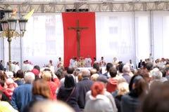 O Papa Francisco comemora a massa no quadrado de Maced?nia, em Skopje imagem de stock royalty free