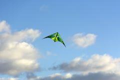 O papagaio paira no céu entre as nuvens Fotos de Stock