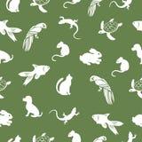 O papagaio, tartaruga, gato, cão, coelho, rato, peixe, teste padrão sem emenda do lagarto, fundo animal do vetor para o projeto d Foto de Stock Royalty Free