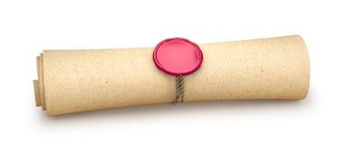 O papel é torcido em um rolo e selado com um selo isolado no branco 3d Imagem de Stock Royalty Free