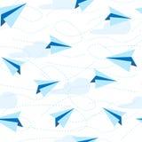 O papel aplana o teste padrão sem emenda fundo do avião de papel Curso, símbolo da rota ilustração stock