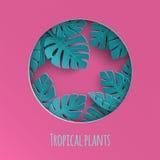 O papel cortado em volta do quadro com fundo abstrato do verão com papel cortou as folhas tropicais, design floral exótico para a ilustração stock