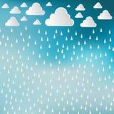 O papel cortou as nuvens brancas e as gotas da chuva no fundo do céu azul Ra ilustração royalty free