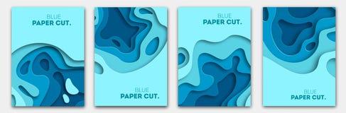 O papel cortou o conceito de projeto para insetos, apresentações e cartazes Arte de cinzeladura abstrata do vetor 3D branco e azu ilustração stock