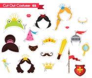 O papel cortou para crianças com tema do príncipe e da princesa podem ser usados como os suportes para um partido theamed Imagem de Stock