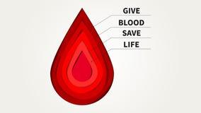 O papel da doação de sangue cortou a ilustração do vetor do estilo com gota vermelha Imagens de Stock Royalty Free