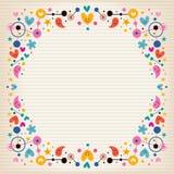 O papel de nota funky dos corações, dos pontos, das flores e das estrelas molda a beira Fotografia de Stock