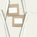 O papel desliza para fotos na folha do caderno Imagens de Stock
