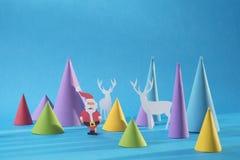O papel do Natal 3d cortou o cartão feito a mão da cor de Santa Fotografia de Stock