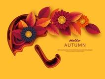 O papel do outono 3d cortou o guarda-chuva com folhas e flores Fundo abstrato com formas em cores amarelas, alaranjadas, roxas Foto de Stock
