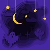 O papel do sumário de Dia das Bruxas 3d cortou o illlustration do cemitério, lua, fantasmas Molde colorido do vetor em cinzelar o Foto de Stock