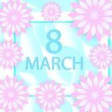 O papel moderno do cartão internacional do dia das mulheres cortou o estilo 8 de março molde para seu projeto Ilustração do vetor Foto de Stock Royalty Free