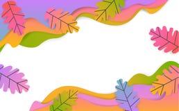O papel ondulado sazonal da ação de graças da queda cortou a bandeira do estilo com as folhas coloridas inclinação do carvalho ilustração royalty free